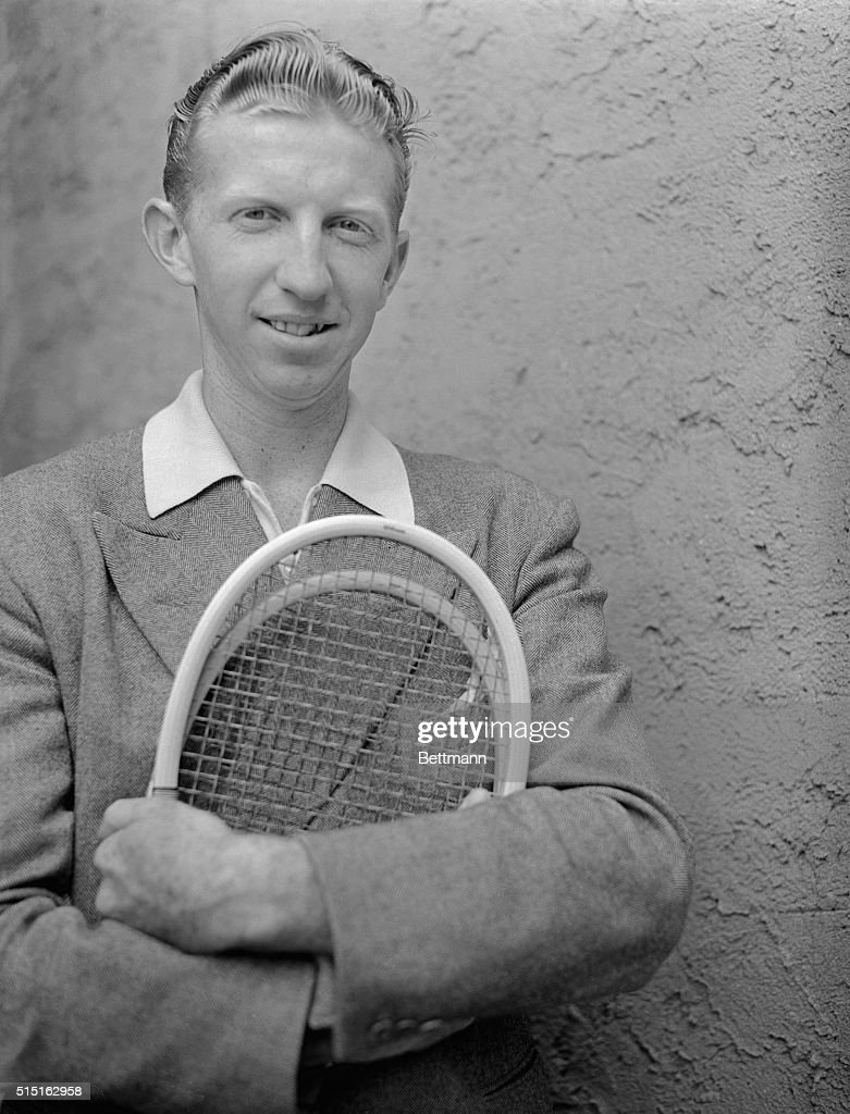 Tennis Player Don Budge Holding Tennis Racquet