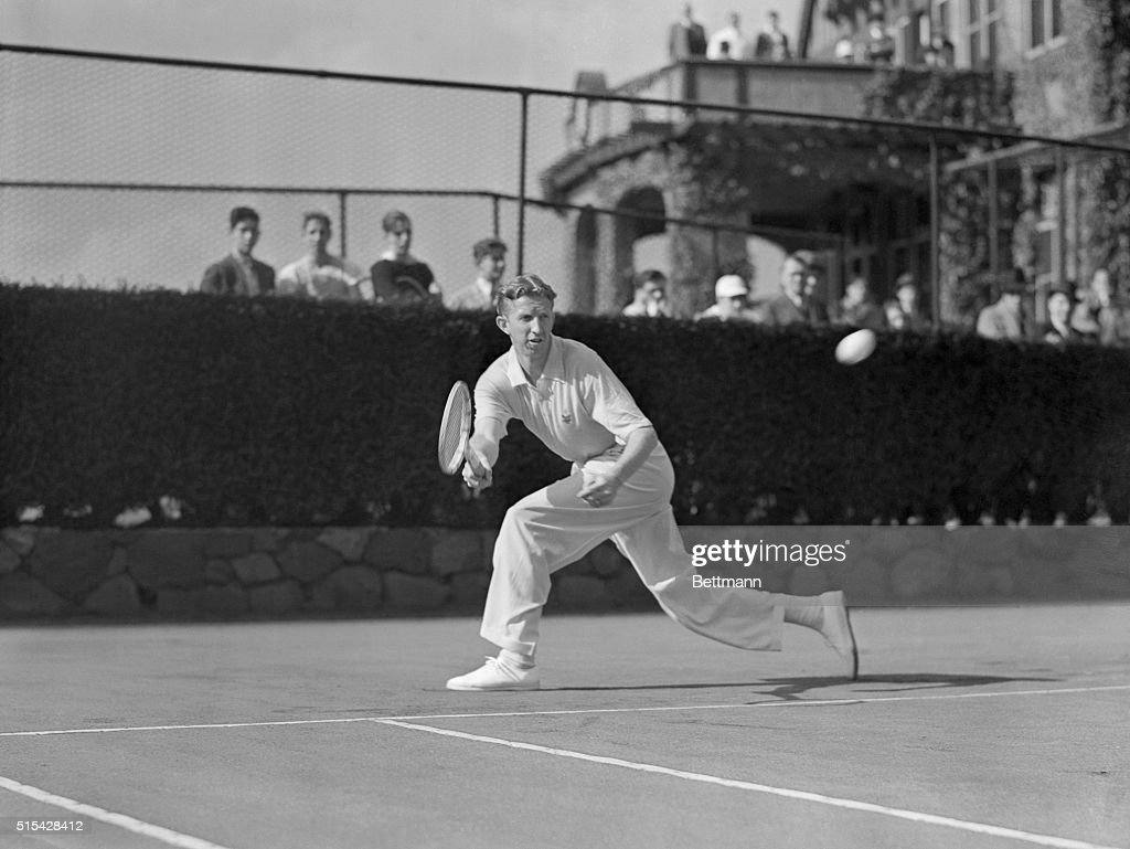 Don Budge Chasing Down Forehand Shot
