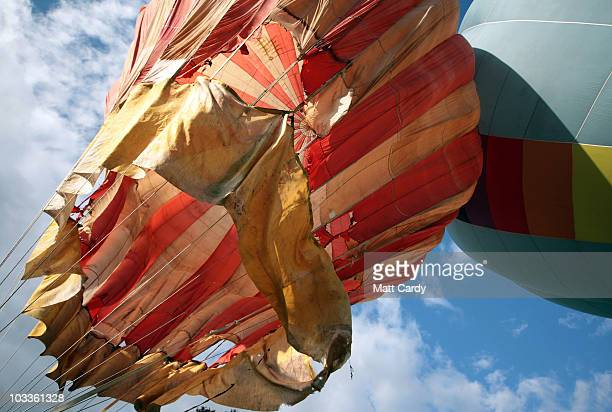Don Cameron founder and director of Cameron Balloons the largest balloon maker in the world inflates the Bristol Belle the first modern balloon in...