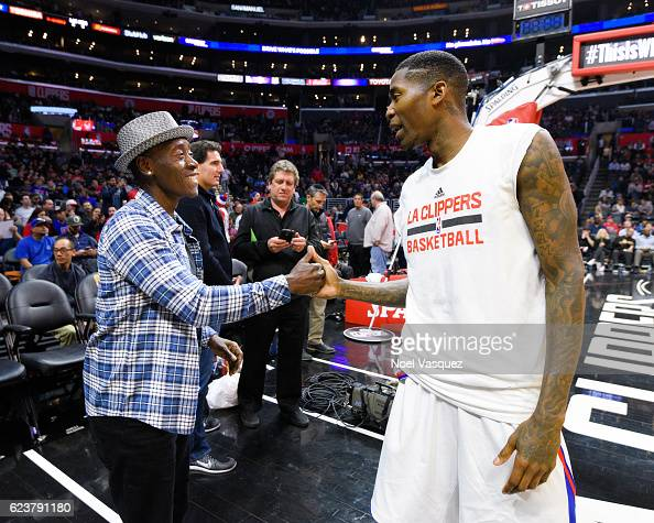Don Cheadle and basketball player Jamal Crawford at basketball game between the Memphis Grizzlies and the Los Angeles Clippers at Staples Center on...