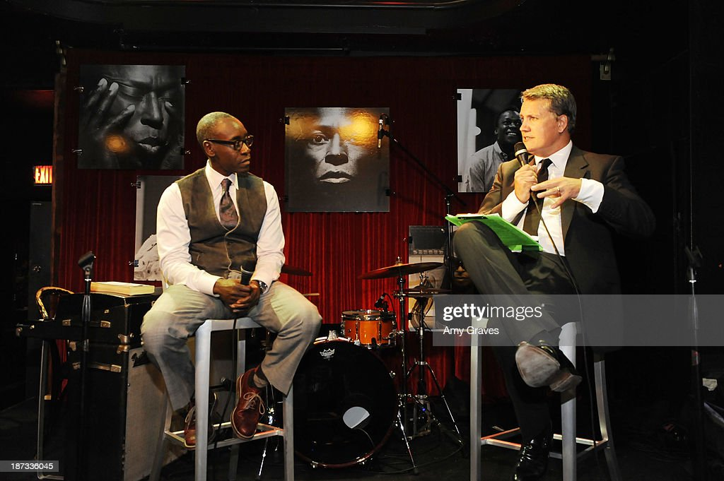 <a gi-track='captionPersonalityLinkClicked' href=/galleries/search?phrase=Don+Cheadle&family=editorial&specificpeople=202096 ng-click='$event.stopPropagation()'>Don Cheadle</a> and Stuart Ford address the audience at the IM Global/UTA Reception for 'Kill The Trumpet Player' on November 7, 2013 in Santa Monica, California.