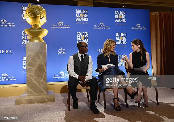 Don Cheadle Laura Dern and Anna Kendrick speaks during the Nominations Announcement For The 74th Annual Golden Globe Awards at The Beverly Hilton...