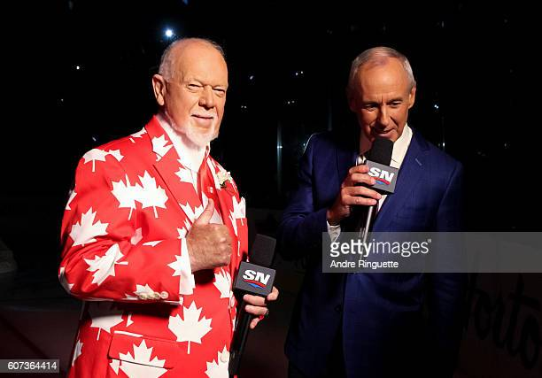 Don Cherry and Ron MacLean prior to Team Canada taking on Team Czech Republic during the World Cup of Hockey 2016 at Air Canada Centre on September...