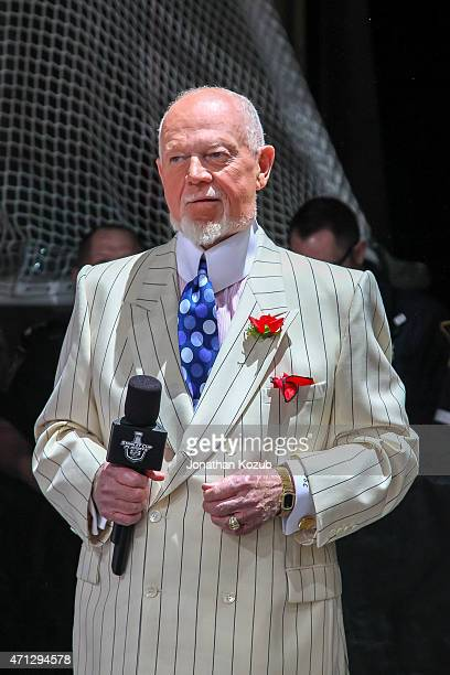 Don Cherry of Rogers Sportsnet looks on prior to puck drop between the Winnipeg Jets and the Anaheim Ducks in Game Three of the Western Conference...