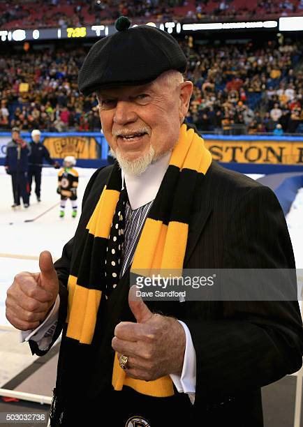 Don Cherry of the Boston Bruins coaching staff poses before the Alumni Game as part of the 2016 Bridgestone NHL Classic at Gillette Stadium on...