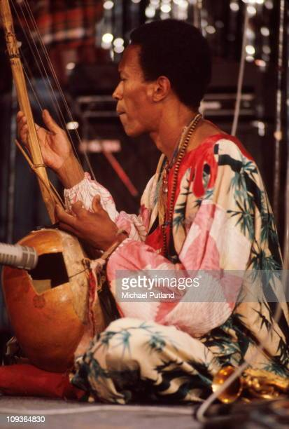 Don Cherry performs on stage at Montreux Jazz Festival 1977 playing a kora