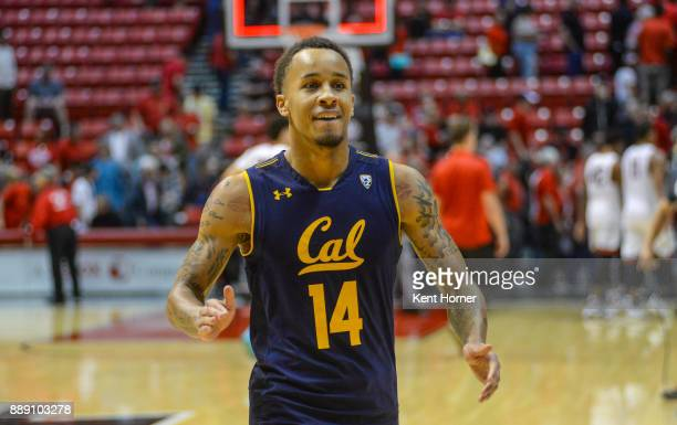 Don Coleman of the California Golden Bears celebrates walking off the court after beating the San Diego State Aztcs at Viejas Arena on December 9...