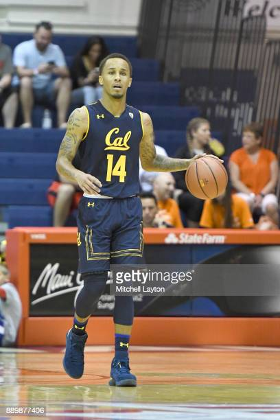 Don Coleman of the California Golden Bears dribbles the ball up court during a consultation college basketball game at the Maui Invitational against...
