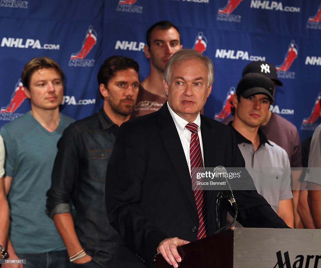 Don Fehr, executive director of the National Hockey League Players Association meets with the media at the Marriott Marquis Times Square on September 13, 2012 in New York City. Joining him from left to right is Ruslan Fedotenko, Henrik Lundqvist, Zdeno Chara and Sidney Crosby.