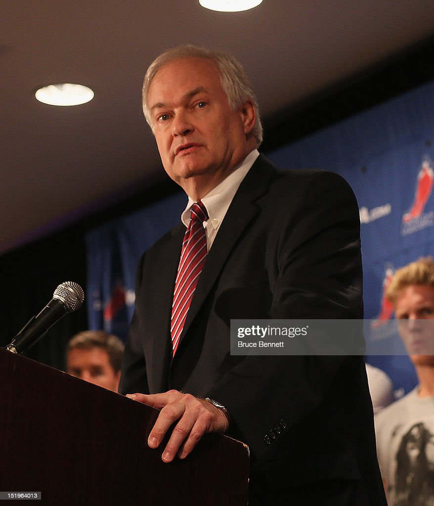 Don Fehr, executive director of the National Hockey League Players Association meets with the media at Marriott Marquis Times Square on September 13, 2012 in New York City.