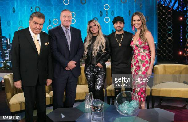 Don Francisco Andres Cantor Karol G Nacho and Jessica Carrillo are seen at Telemundo's 'Don Francisco Te Invita' on May 18 2017 in Miami Florida