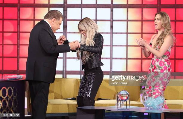 Don Francisco Karol G and Jessica Carrillo are seen at Telemundo's 'Don Francisco Te Invita' on May 18 2017 in Miami Florida