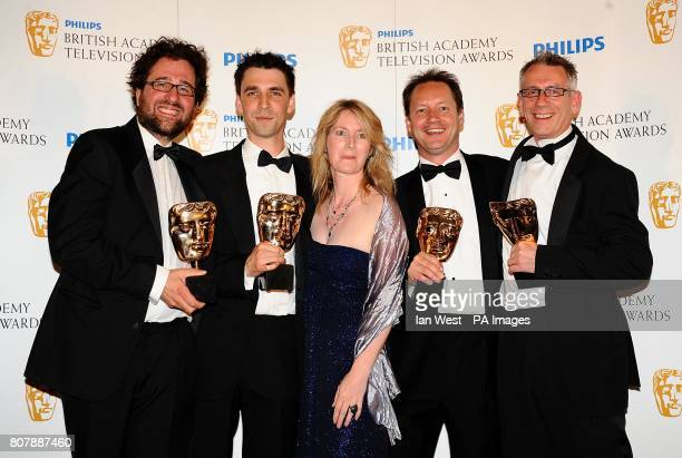 Don Gluckman Dan Biddle Lisa Sargood Dominic CrossleyHolland and Julian Phillips with the New Media award received for Virtual Revolution at the...