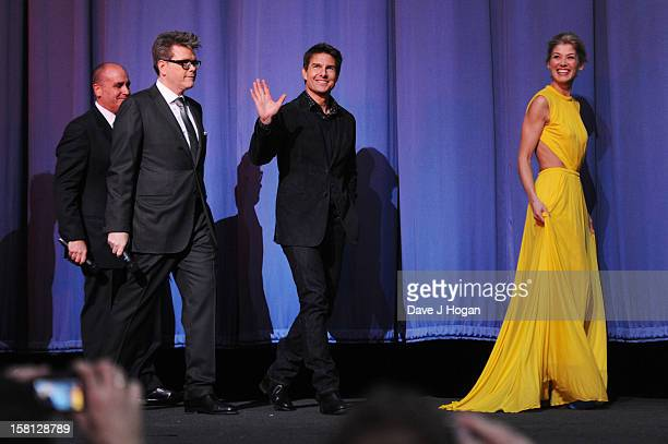 Don Granger Christopher McQuarrie Tom Cruise and Rosamund Pike attend the world premiere of 'Jack Reacher' at The Odeon Leicester Square on December...