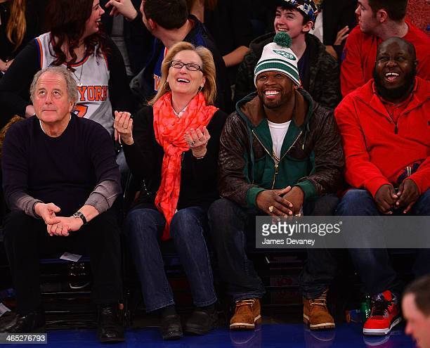 Don Gummer Meryl Streep 50 Cent and guest attend the Los Angeles Lakers vs New York Knicks game at Madison Square Garden on January 26 2014 in New...
