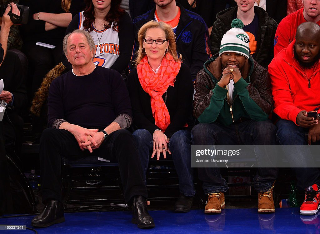 Don Gummer, Meryl Streep and 50 Cent attend the Los Angeles Lakers vs New York Knicks game at Madison Square Garden on January 26, 2014 in New York City.