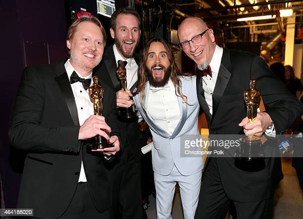 Don Hall Roy Conli winners of the Best Animated Feature Award for 'Big Hero 6' actor Jared Leto and Chris Williams winner of the Best Animated...