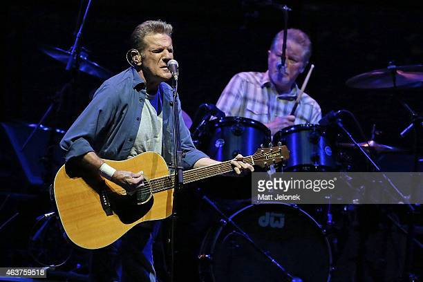 Don Henley and Glenn Frey of The Eagles perform on stage at Perth Arena on February 18 2015 in Perth Australia