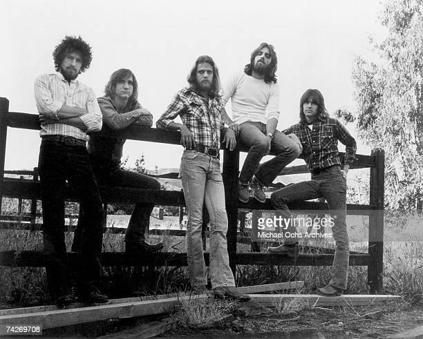 Don Henley Joe Walsh Bernie Leadon Glenn Frey Randy Meisner of the rock band 'Eagles' pose for a portrait in circa 1976