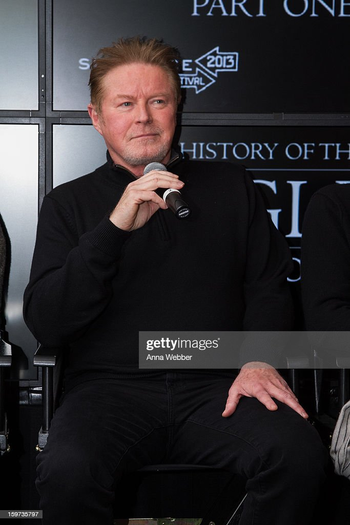 <a gi-track='captionPersonalityLinkClicked' href=/galleries/search?phrase=Don+Henley&family=editorial&specificpeople=216382 ng-click='$event.stopPropagation()'>Don Henley</a> of the Eagles attends 'History of the Eagles' Documentary Announcement - 2013 Park City on January 19, 2013 in Park City, Utah.