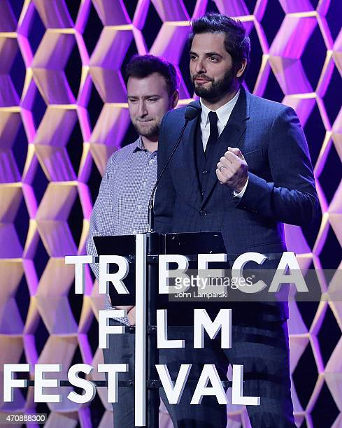 Don Hertzfeldt and Diego Bunuel speak at the Tribeca Film Festival Awards Night at Spring Studios on April 23 2015 in New York City