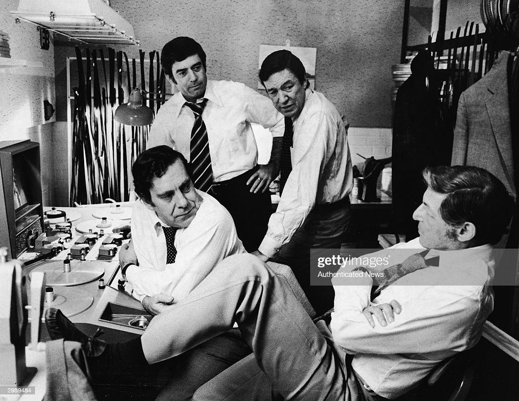 Don Hewitt (bottom right), executive producer of the television news program '60 Minutes', discusses upcoming editions of the broadcast with its co-editors, (L-R): <a gi-track='captionPersonalityLinkClicked' href=/galleries/search?phrase=Morley+Safer&family=editorial&specificpeople=208905 ng-click='$event.stopPropagation()'>Morley Safer</a>, Dan Rather, and Mike Wallace, circa 1970s.