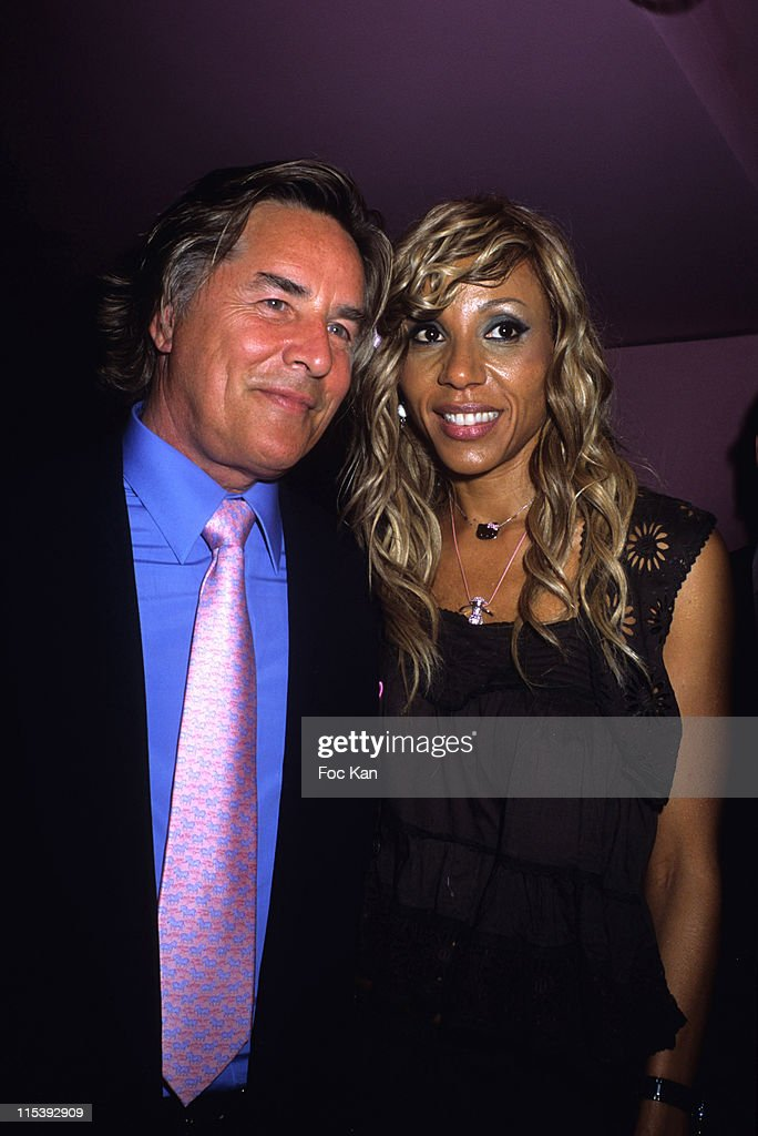 Don Johnson and Cathy Guetta during Cathy Guetta Birthday Party at La Suite Club in Paris France