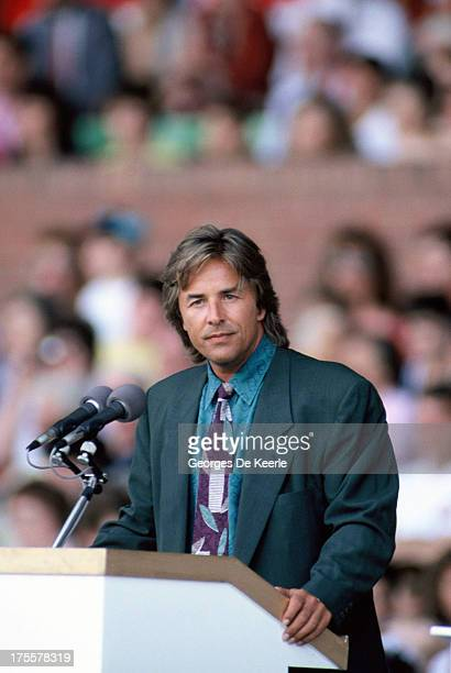 Don Johnson holds a speech during the opening ceremony of the European Summer Special Olympics on July 21 1990 in London England