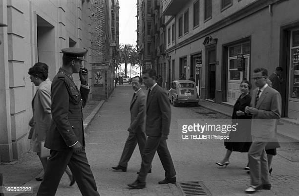 Don Juan Carlos Of Spain In The Army En Espagne dans une rue d'Alicante le prince Juan CARLOS D' ESPAGNE en uniforme de cadet de l'école militaire...