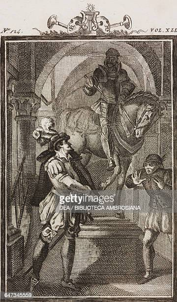 Don Juan Tenorio turning to the Commendatore of Loyola's statue engraving by Giovanni Zuliani from a G Steneri drawing from Don Juan Tenorio Act V...