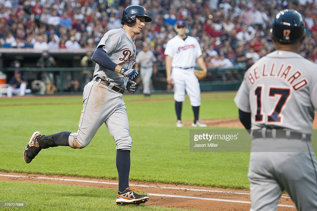Don Kelly #32 of the Detroit Tigers rounds first base after hiting a three run home run during the fifth inning against the Cleveland Indians at Progressive Field on August 6, 2013 in Cleveland, Ohio.