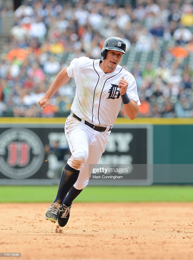 Don Kelly #32 of the Detroit Tigers runs the bases during the game against the Tampa Bay Rays at Comerica Park on June 6, 2013 in Detroit, Michigan. The Tigers defeated the Rays 5-2.