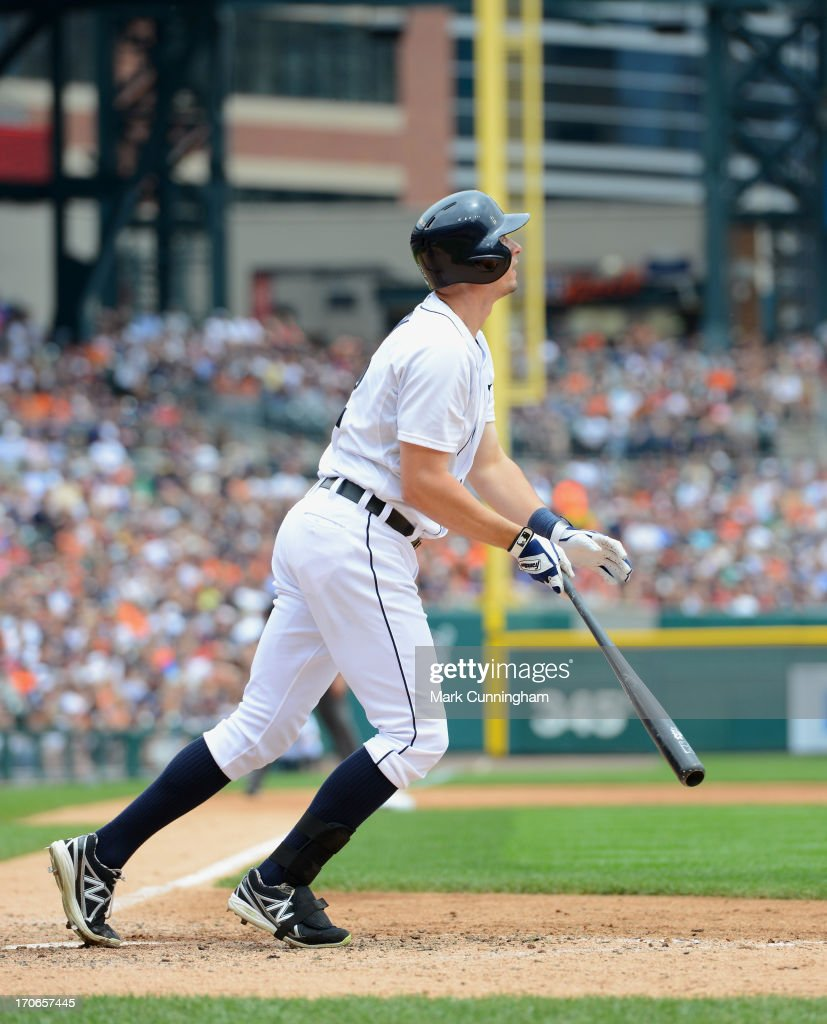 Don Kelly #32 of the Detroit Tigers watches as his 3-run home run goes over the fence while batting during the game against the Cleveland Indians at Comerica Park on June 9, 2013 in Detroit, Michigan. The Tigers defeated the Indians 4-1.