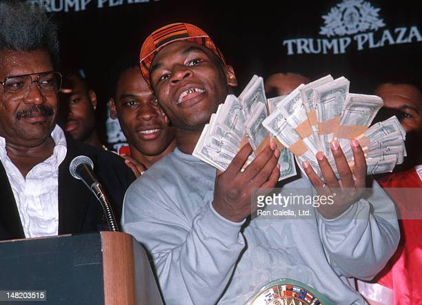 Don King and Mike Tyson attend Tyson Vs Williams Boxing Match on July 21 1989 at Trump Plaza Hotel and Casino in Atlantic City New Jersey