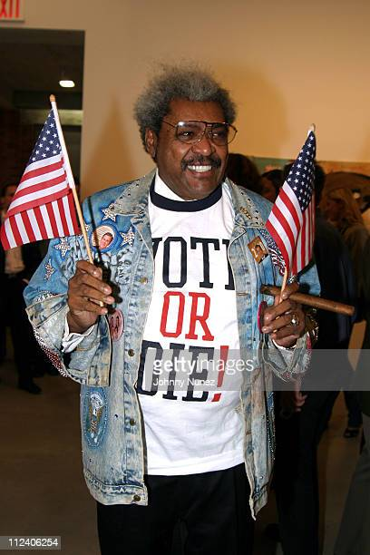 Don King during Vote Or Die Political Art Exhibition at Tony Shafrazi Gallery in New York City New York United States