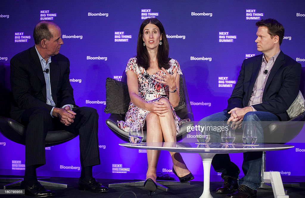 Don Kingsborough, vice president of retail and prepaid products at PayPal Inc., from left, Michelle Peluso, center, chief executive officer of Gilt Groupe Inc., David Steinberger, right, chief executive officer and co-founder of comiXolog, participate in a panel discussion at the Bloomberg Next Big Thing Summit in New York, U.S., on Monday, Sept. 16, 2013. The conference convenes the most influential investors and industry leaders in innovation and science to explore the great frontiers of how technology is changing the way we live, work, and interact. Photographer: Michael Nagle/Bloomberg via Getty Images