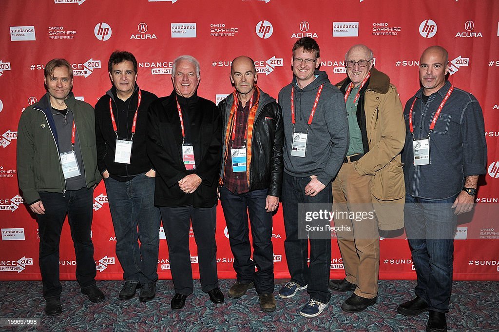Don Kleszy, Gary Lionelli, Jim Swartz, Robert Stone, Mark Lynas, Stewart Brand and Howard Shack attend the 'Pandora's Promise' premiere at Prospector Square during the 2013 Sundance Film Festival on January 18, 2013 in Park City, Utah.