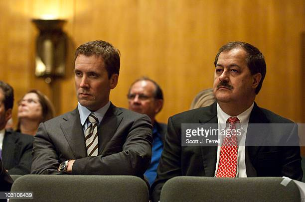Don L Blankenship chairman and CEO of Massey Energy Co looks on with an aide during a Senate Appropriations Subcommittee on Labor Health and Human...