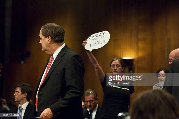 Don L Blankenship chairman and CEO of Massey Energy Co takes his seat during a Senate Appropriations Subcommittee on Labor Health and Human Services...