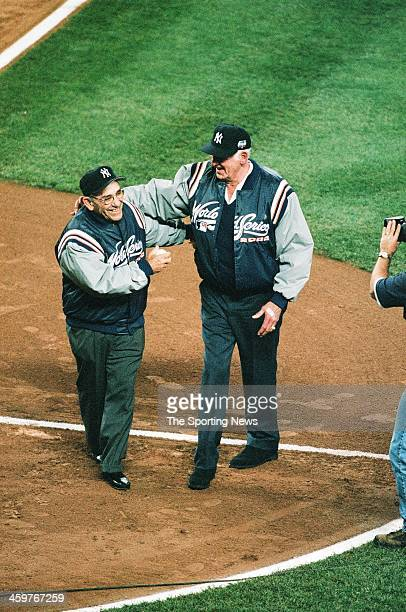 Don Larsen poses after throwing out the first pitch prior to Game One of the World Series between the New York Mets and the New York Yankees on...