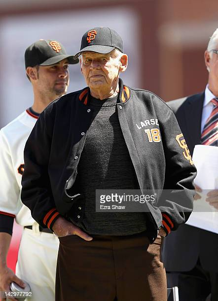 Don Larsen stands on the field during a pregame ceremony before their game against the Pittsburgh Pirates at ATT Park on April 13 2012 in San...