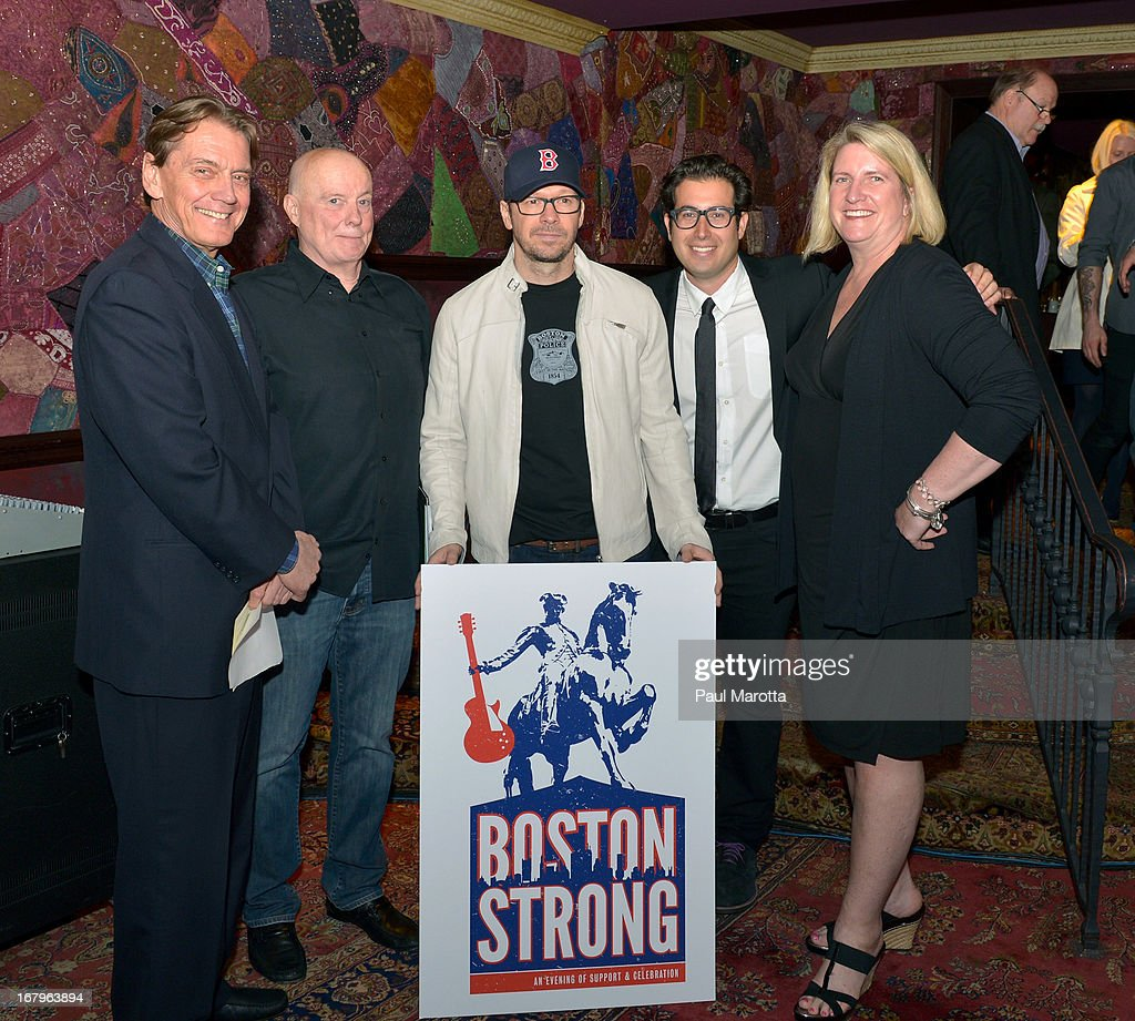Don Law, Dave Marsden, Donnie Wahlberg, Jared Paul, Amy Lattimer attend the Live Nation and TD Bank Garden press conference for The One Fund Benefit concert at House of Blues Boston on May 3, 2013 in Boston, Massachusetts.