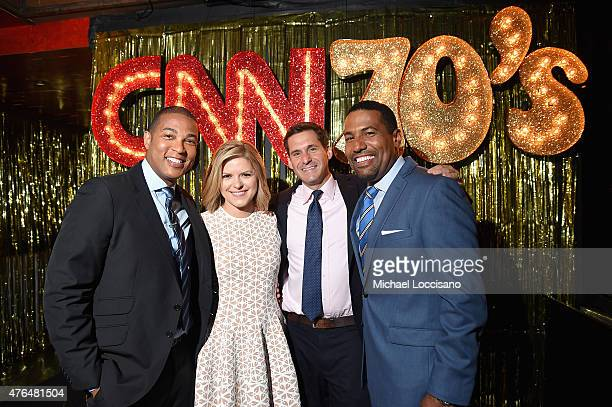 Don Lemon Kate Bolduan and John Berman and Joey Jackson attend the CNN The Seventies Launch Party at Marquee on June 9 2015 in New York City...