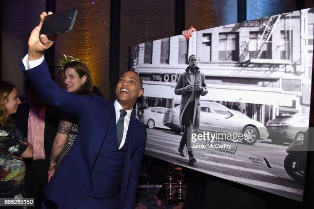 Don Lemon takes a sefie with a photo of himself during The Hollywood Reporter 35 Most Powerful People In Media 2017 at The Pool on April 13 2017 in...