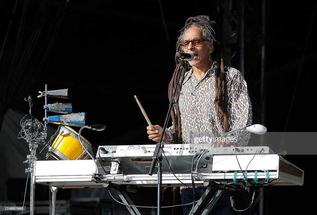 <a gi-track='captionPersonalityLinkClicked' href=/galleries/search?phrase=Don+Letts&family=editorial&specificpeople=2166427 ng-click='$event.stopPropagation()'>Don Letts</a> of Big Audio Dynamite performs on day four of Bestival at Robin Hill Country Park on September 11, 2011 in Newport, Isle of Wight.
