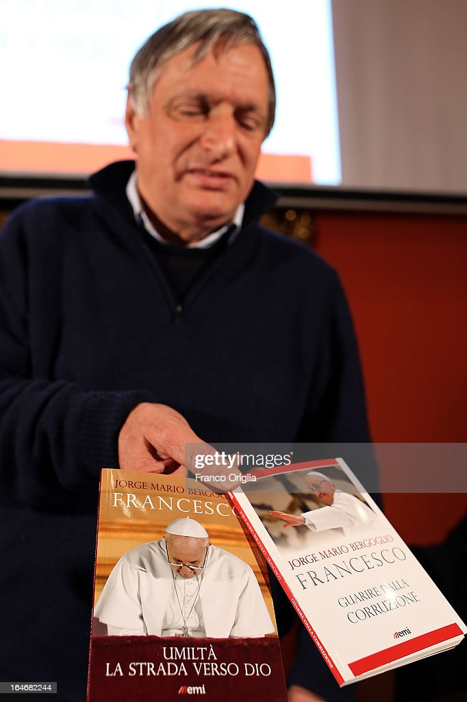 Don Luigi Ciotti, a priest and the president of the anti-Mafia association Libera, attends the presentation of the first two books by newly elected <a gi-track='captionPersonalityLinkClicked' href=/galleries/search?phrase=Pope+Francis&family=editorial&specificpeople=2499404 ng-click='$event.stopPropagation()'>Pope Francis</a> at the Curci Hall of the offices of the Jesuit periodical 'La Civilta Cattolica' on March 26, 2013 in Rome, Italy. 'Guarire dalla corruzione' (Recovering from Corruption) and 'Umilta, la strada verso Dio (Humility: The Road towards God) are the titles of the first two books written by the <a gi-track='captionPersonalityLinkClicked' href=/galleries/search?phrase=Pope+Francis&family=editorial&specificpeople=2499404 ng-click='$event.stopPropagation()'>Pope Francis</a> and published in Italian. Both texts were written in Spanish in 2006 when he was Archbishop of Buenos Aires, drawing upon the spirituality expressed by St. Ignatius of Loyola in his 'Spiritual Exercises' to describe the profound mechanism of corruption in society, including the Church, and to note solutions, among which is the need for an ecclesial life characterized by fraternal charity.