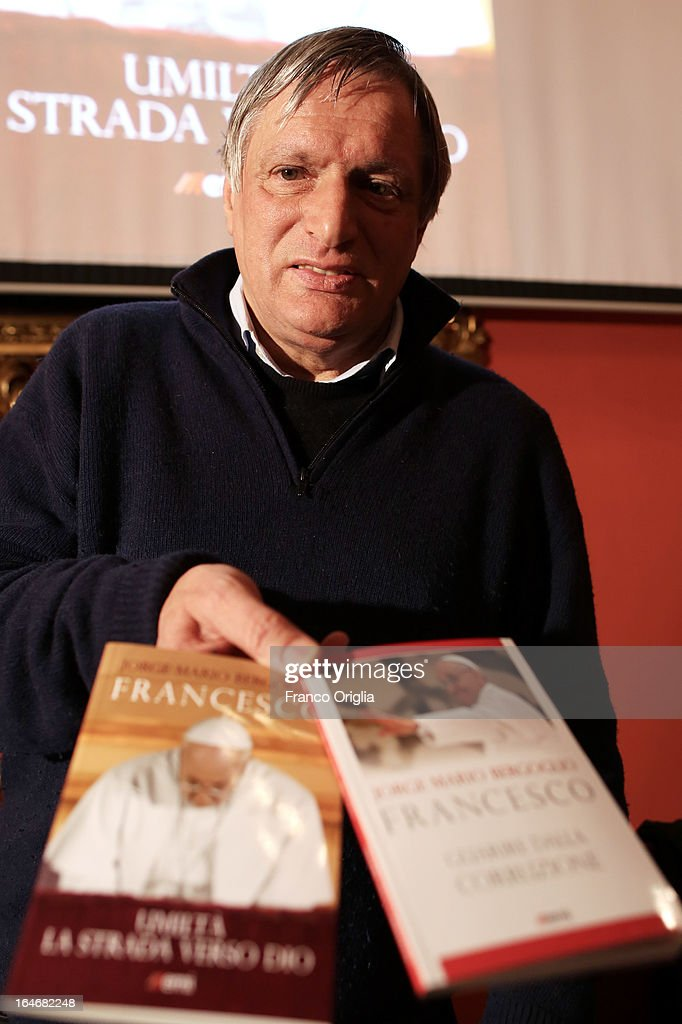 Don Luigi Ciotti, a priest and the president of the anti-Mafia association Libera, attends the presentation of the first two books by newly elected Pope Francis at the Curci Hall of the offices of the Jesuit periodical 'La Civilta Cattolica' on March 26, 2013 in Rome, Italy. 'Guarire dalla corruzione' (Recovering from Corruption) and 'Umilta, la strada verso Dio (Humility: The Road towards God) are the titles of the first two books written by the Pope Francis and published in Italian. Both texts were written in Spanish in 2006 when he was Archbishop of Buenos Aires, drawing upon the spirituality expressed by St. Ignatius of Loyola in his 'Spiritual Exercises' to describe the profound mechanism of corruption in society, including the Church, and to note solutions, among which is the need for an ecclesial life characterized by fraternal charity.