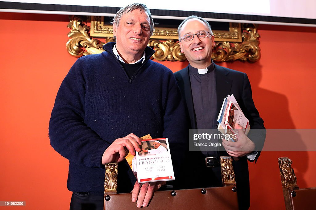 Don Luigi Ciotti (L), a priest and the president of the anti-Mafia association Libera, and Jesuit father Antonio Spadaro (R) attend the presentation of the first two books by newly elected Pope Francis at the Curci Hall of the offices of the Jesuit periodical 'La Civilta Cattolica' on March 26, 2013 in Rome, Italy. 'Guarire dalla corruzione' (Recovering from Corruption) and 'Umilta, la strada verso Dio (Humility: The Road towards God) are the titles of the first two books written by the Pope Francis and published in Italian. Both texts were written in Spanish in 2006 when he was Archbishop of Buenos Aires, drawing upon the spirituality expressed by St. Ignatius of Loyola in his 'Spiritual Exercises' to describe the profound mechanism of corruption in society, including the Church, and to note solutions, among which is the need for an ecclesial life characterized by fraternal charity.