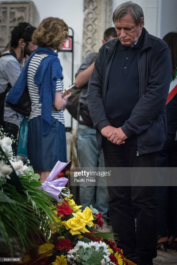 Don Luigi Ciotti during the funeral of Director Giuseppe Ferrara in Rome. Burning chamber on Capitol Hill for the director Giuseppe Ferrara, to take part in the Sala del Carroccio, also joined were the mayor of Rome Virginia Raggi and the director Giuseppe Tornatore.