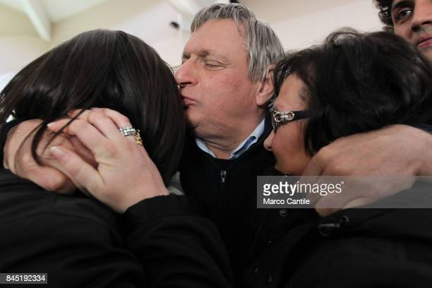 Don Luigi Ciotti patron of anti mafia organization Libera kiss the sisters of Don Giuseppe Diana the priest killed by the criminal organization...